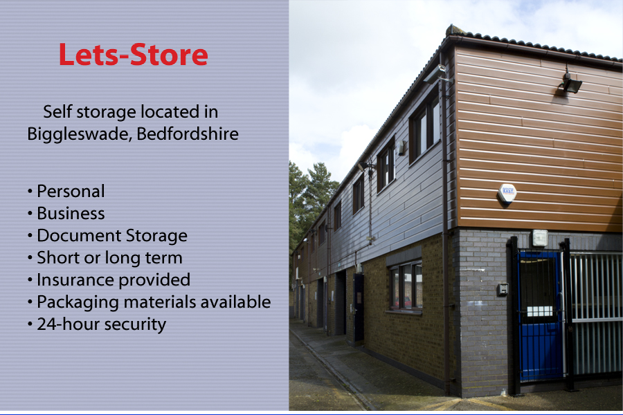 Lets-Store: Self storage located in Biggleswade, Bedfordshire. Personal. Business. Document storage. Short or long term. Insurance provided. Packaging materials available. 24-hour security.